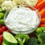 Ranch dressing and veggie tray